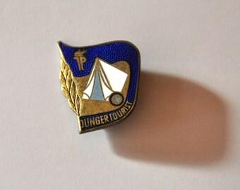 DDR TP Junger Tourist Pin - Vintage East German Collectible Badge