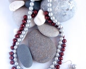 Glass Pearls  Necklace Earring Set  Upcycled  Dark Red  Silver Pearls