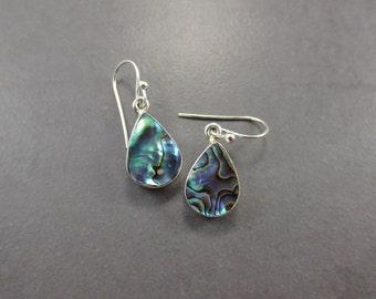Abalone Shell Earrings, Abalone Silver Earrings, Multi-Color Earrings, Gift Idea, Paua Shell, Gift