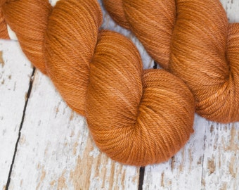 Hand Dyed KM Worsted Superwash Merino Wool Yarn in Deep Caramel Brown