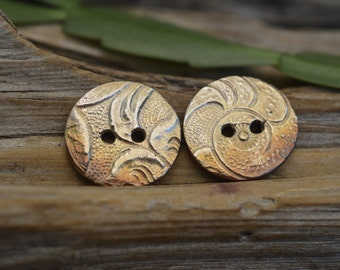 Tooled Leather - Small Handmade White Copper Button Pair