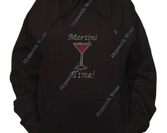 "Rhinestone Women's Pullover Hoodie "" Martini Time in Rhinestones "" Sweatshirt Sm to 3X"