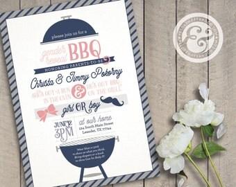 Printable Gender Reveal BBQ Invitation