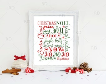 Christmas Word Art - PRINTABLE Wall Art / Christmas Typography Print / Holiday Typography Art / Christmas Subway Art / Christmas Printable