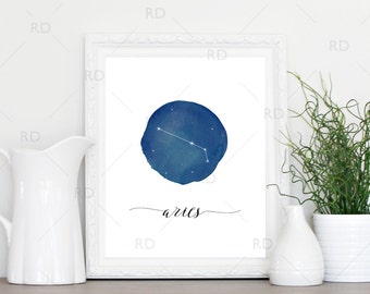 Aries Constellation Zodiac - PRINTABLE Wall Art / Zodiac Constellation Wall Art / Zodiac Art by Month / Astrological Art Printable