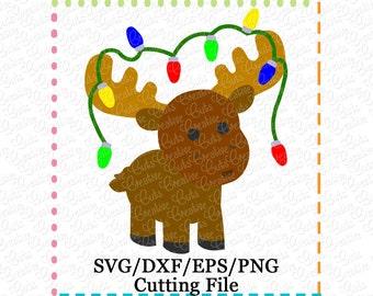 EXCLUSIVE SVG DXF Christmas Moose Lights svg, moose svg, moose cutting file, moose cutting file, reindeer svg, reindeer cut file