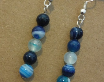 Blue Marbled Stone Earrings