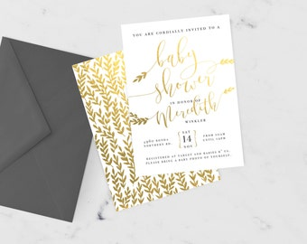 Baby Shower Gold Invitation | DIGITAL PRINTABLE File