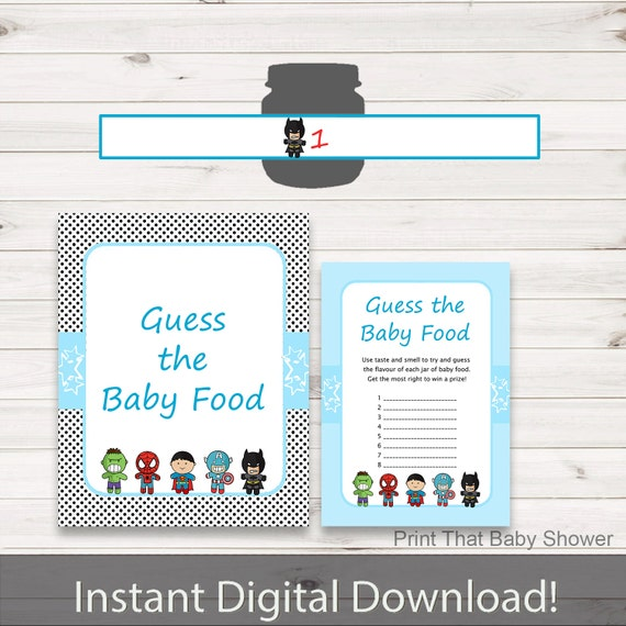 Baby Shower Games Guess The Baby Food Game Superhero Baby Shower