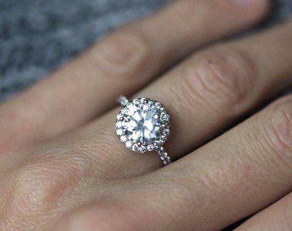 Moissanite Engagement Ring Halo Engagement Ring Forever