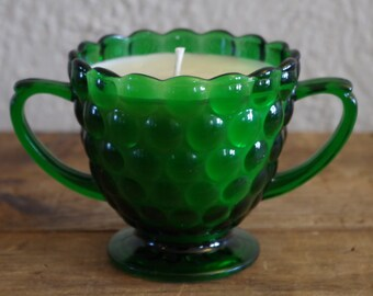 Hand Poured Soy Candle in Vintage Green Sugar Bowl