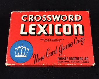 Vintage Parker Brothers Crossword Lexicon Card Game 1937