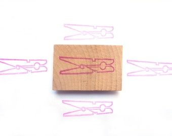 Clothespin hand carved rubber stamp