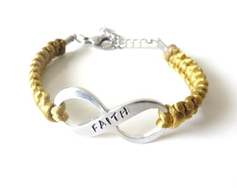 FAITH Inspirational Serenity Infinity Hand Stamped Bracelet with Optional Awareness Ribbon Charm and Letter Initial Charm