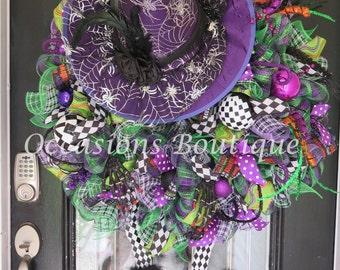 XL Halloween Wreath, Halloween Witch Wreath, Halloween Decoration, Halloween Party Decor, Door Hanger, Front Door Wreath, Witch