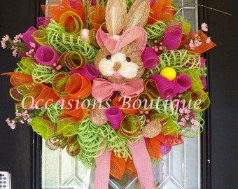 Easter Wreath, Easter Decoration, Front door wreaths, door hanger, Wreath for door, Spring Wreaths, Made to Order