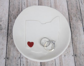 Ring Dish, Ring Holder, wedding, Ohio Ring Dish, State Ring Dish, Ring Bearer Bowl, Custom Ring Dish, Custom Ring holder