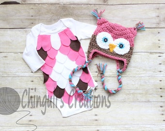 Baby Owl Costume Crochet Owl Hat Baby Owl Bodysuit Pink Brown Owl hat and Bodysuit set White Brown Pink Owl Hat and bodysuit costume