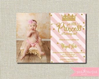 Princess Birthday Invitation, Princess Birthday, Princess Invitation, Pink and Gold, Glitter, First Birthday Invitation, Princess Party