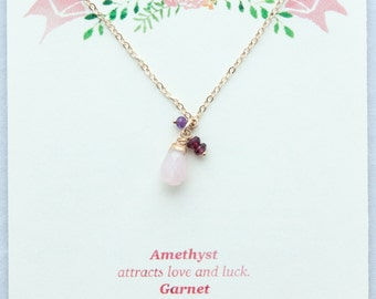 Love Necklace Rose Quartz, Garnet, Amethyst. 14kt Gold-fill or Sterling. Designed and made by Heather at HeatherBruchsDesigns