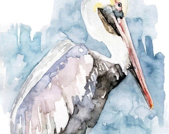 "Pelican Painting - Print from Original Watercolor Painting, ""The Fish Catcher"", Beach Decor, Water Bird, Pelican Art"