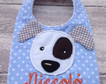White Dog bib personalized with name