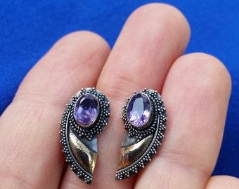 Sterling Silver Bali Amethyst Gold Post Earrings