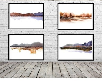 Set of Prints, 4 Piece Wall Art Set Watercolor Print Set of 4,Landscape Painting Print, Purple Brown White Wall Decor,Wall Art Abstract,Four