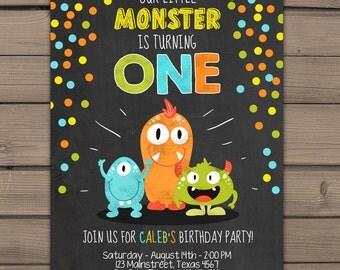 Little Monster birthday invitation Monster party invitation Monster Bash Monster invitation Chalkboard Boy or girl Digital PRINTABLE ANY AGE