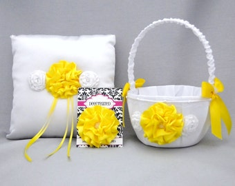 Flower Girl Basket Ring Bearer Pillow Yellow White Basket Satin Ringbearer Pillow Flower Wedding Accessories Free Hair Clip Ready To Ship