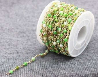 Faceted Green Agate Beaded Rosary Chains -- Wholesale Beads Chain Handmade Craft Supply CQA-035,YHA