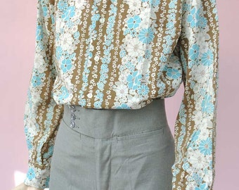 Men's Vintage 60s Floral Shirt by The London Look • Dagger Collar • Northern Soul • Disco