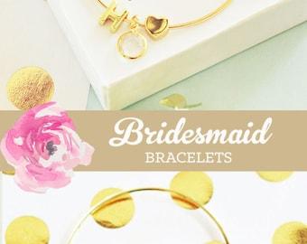 Rustic Bridesmaid Jewelry Box with Monogram Bridesmaid Bracelet Set Unique Bridesmaid Gift Ideas (EB3144WC) Initial Bracelet Bangle