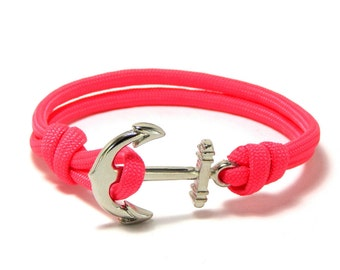 Nautical anchor bracelet pink paracord with silver anchor