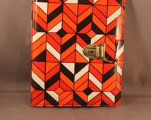Amazing Notepad Folder Original 1970s 70s Pop Art Diamond Pattern Vinyl Cover Geometric Vasarely Psychedelic Style Panton 60s 70s