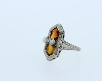 14K Gold Diamond ring with Orange Stones