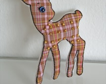 Fawn linen brooch bambi kids fashion Art doll miniatures handmade present cotton animal brooch soft skulptur
