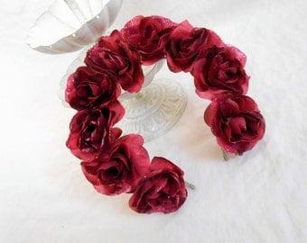 Wine Red Day of the Dead Headpiece Burgundy Rose Headband Maroon Floral Halo Fall Flower Crown Goth Frida Kahlo Adult Sugar Skull Hair