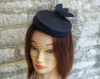 Pillbox hat with veil black cocktail hat and birdcage fascinator veil funeral veil funeral hat black felt hat races hat formal wedding hat