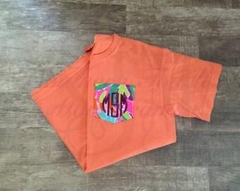 Monogrammed Lilly Pulitzer Pocket Short Sleeve Comfort Colors T-shirt