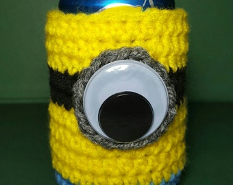Crochet Can Cozy // Minion // Ready To Ship