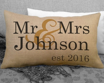 Mr & Mrs Burlap Wedding Pillow Personalized Last Name and Est Date, Wedding Date Pillow, Wedding Gift, Anniversary Gift, Keepsake