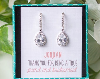 Silver Long Drop Earrings Wedding Earrings for Bridesmaids Gift Maid of Honor Bridal Party Earrings Bridesmaid Gift Silver Earrings E267S