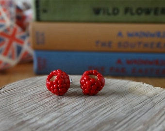 By the Shed Raspberry Red Earrings - Fruit - Vegetables - Gardening - Gift - Unique Present - Jewellery - Allotment - Hedgerow - Rubus