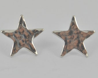 HAMMERED Medium Sterling Silver STAR Earrings Polished post stud Jewellery Jewelry girls teens women ladies gift mother daughter Handmade UK