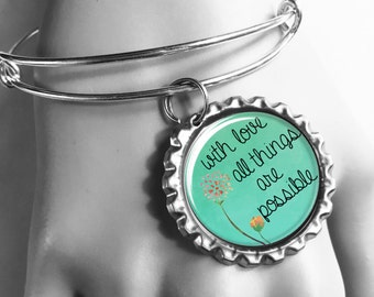 With Love, All Things Are Possible, Bible Verse Bracelet, Christian Gifts, Mantra Bracelet, Gifts Under 10, Religious Presents, Scripture