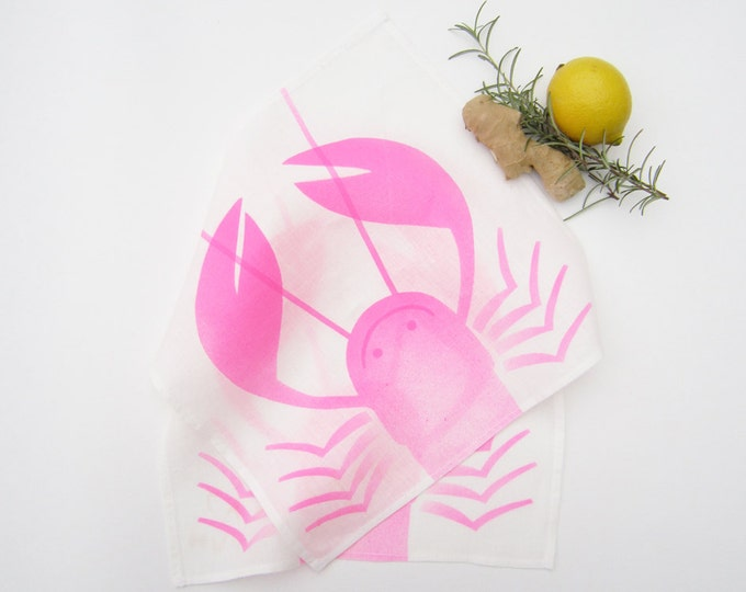 Linen tea napkins white hand printed neon pink smiling lobster airbrushed (duo)