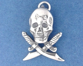 PIRATE Charm, SKULL With Crossed SWORDS .925 Sterling Silver Charm