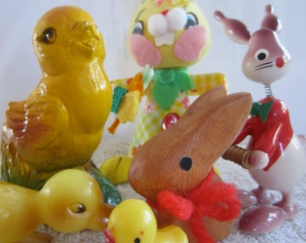 A Collection of 6 Cute Vintage Easter Bunnies and Chicks