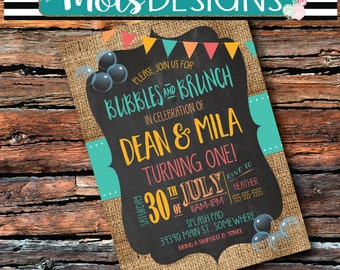 Any Color BUBBLES & BRUNCH Coral Turquoise Peach Gold Birthday Burlap Chalkboard 1st 2 3 4 5 6 7 8 TWINS Water Boy Girl Sibling Invitation